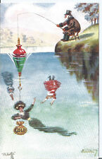 Vtg Tuck pc W.R. Ellam The Gentle Art of Angling - Gold offered as Bait by Gent