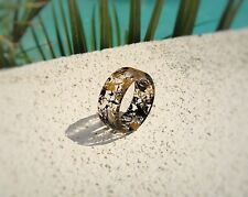 Jack Daniels Whiskey Barrel Wood & Ebony Wood Resin Ring ~ Unisex ~ Handmade