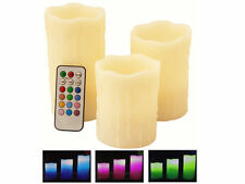 3 Battery Electric Wax Scented Colour Changing Flickering LED Candles
