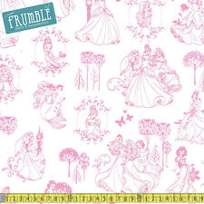 Camelot Fabric Disney Princess Toile in Light Pink  PER METRE Ariel Snow White C