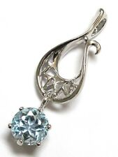 SPECIAL SALE $9.99 AWESOME 2 CT GENUINE BLUE TOPAZ STERLING SILVER PENDANT