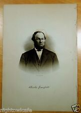 CHARLES GREENFIELD Rochester, NH Antique Print 1882 Steel Engraving PORTRAIT