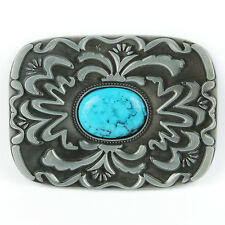 Senmi Senmi Western Native American Belt Buckle Turquoise Stone Indian Vintage C