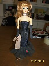 1958-1993 Mattel Reproduction Barbie Doll Sparkly Black Dress StandMalaysia VGUC