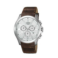 Esprit EL101801F03 Men's White Dial Chronograph Brown Leather Strap Quartz Watch