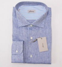 NWT $675 BRIONI Blue Extrafine Linen Chambray Button-Front Shirt L + Box