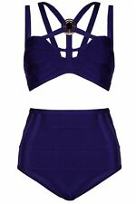 Forever Unique Blue Bandage Harness Cage Bra High Waist Bikini Hot Pants Shorts