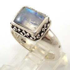 Modernist Sterling Silver Moonstone Solitaire Scroll Accent Ring Size 8