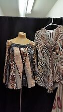 Lot of 2 Brown White Black Viscose Spandex Poly Tops by Alberto Makali Size XL