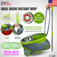 New 360° Spinning Mop Wheels Stainless Steel Spin-Dry Bucket w/2 Mop Heads