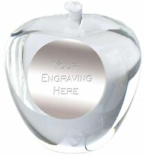 CRYSTAL APPLE FOR TEACHER GIFT PAPERWEIGHT  ENGRAVING  FREE