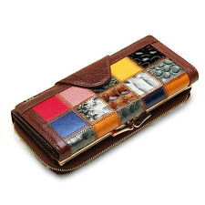 Women Genuine Leather Patchwork Long Wallet Elgant Random Pattern Purse Card Hol