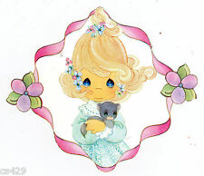 """4"""" PRECIOUS MOMENTS GIRL CAT  NURSERY CHARACTER  PEEL STICK WALL BORDER CUT OUT"""