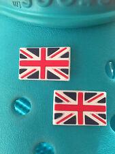 2 Union Jack Bandera encantos del zapato Para Crocs Y Jibbitz Pulseras Uk libre de envío