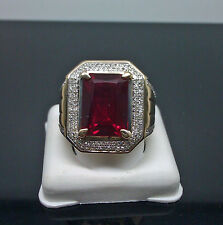 New Design 10K Men's Square Red Ruby With 0.60CT Diamond Ring