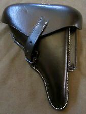 WWI WWII GERMAN P08 LUGER PISTOL HARDSHELL HOLSTER-BLACK LEATHER