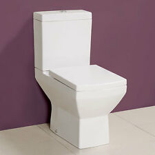 Toilet Bathroom Pan WC Modern Square Close Coupled Cloakroom Soft Close Seat
