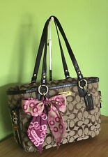 Coach Brown Signature Tote Bag With Pink Scarf