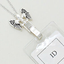 Fleur de Lis Angel Wings ID Badge Tag Key Card Holder Necklace Lanyard Clip BIN