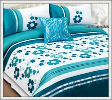 280TC White Turquoise Flora Embroidery Pintuck * 3pc KING QUILT DOONA COVER SET