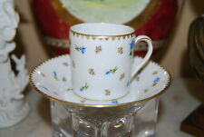 BEAUTIFUL VINTAGE SUISSE LANGENTHAL CAN STYLE HP FLOWERS DEMITASSE CUP & SAUCER