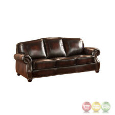 Hyde Top Grain Burgundy Leather Sofa With Antiqued Hand Rubbed Finish