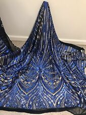 """BLACK/ROYAL/GOLD EMBROIDERY SEQUINS BEIDAL LACE FABRIC 50"""" WiIDE 1 YARD"""