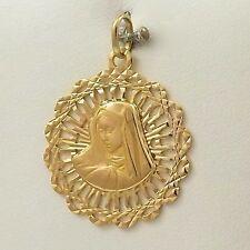 18K Yellow Gold Filigree Madonna Mother of Sorrows Charm Pendant 5 gr