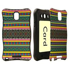 For Samsung Galaxy Note 3 - HARD RUBBER HYBRID CARD HOLDER CASE GREEN PINK AZTEC