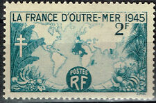 France Colonial Empire Woeld Map stamp 1945 MLH