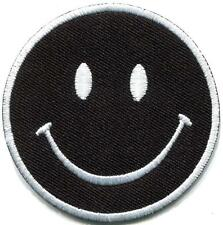 Smiley face black retro boho hippie 70s fun smile applique iron-on patch S-1170