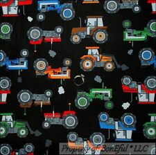 BonEful Fabric FQ Cotton Quilt Black Red Blue Green Farm Tractor Baby Boy Room L