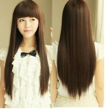 Womens New Fashion Long Straight Full Wig Neat Bang Synthetic Hair Wig Cos Light