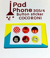 6 Pcs Home Button Stickers for Apple iPhone 5 5c 4 4S 3GS iPad 1 2 3 mini Mickey