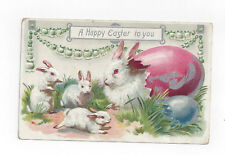 Antique Tuck Easter Post Card Rabbits Cracked Open Colored Eggs Lily of Valley