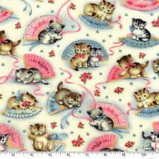 FAT QUARTER-Smitten Kitten Cat Kitty Fabric Michael Miller CX4059-CREM-D