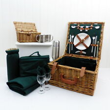Ashby Picnic Hamper Basket for 2 Persons & Accessories, Chiller Bag, Fleece