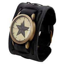 Retro Punk Rock Mens Bracelet Watch Leather Cuff Strap Analog Quartz Wristwatch