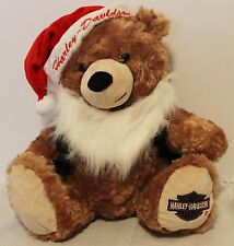 HD Harley Davidson Santa Christmas Bear Hat Black Vest White Beard 13""