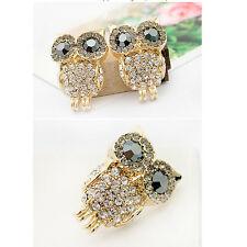 Vintage Retro Owl Cute Rhinestone Ear Women Stud Earrings Hot