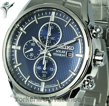 New SEIKO TITANIUM Blue Face Chronograph with Titanium Bracelet SSC365P1