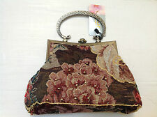 Faye London Stile Vintage Marrone tapestry floreale con perline Evening Bag Bnwt