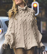 Aran Cable Poncho High Collar & Cuffs - S/M  M/L  Knitting Pattern Womans Ladies