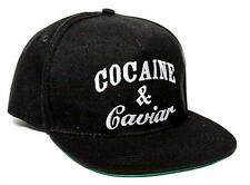 New Cocaine & Caviar Embroidered Flat Bill 5 Panel Black Snapback Hat Cap