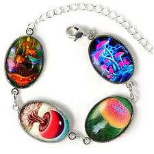Electric Magic Mushroom Drug Hippie Fantasy Sterling Silver Glass Charm Bracelet