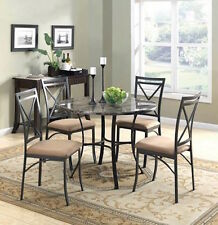 Round Dining Room Set Metal Table Chairs 5Piece Dinette Kitchen Marble Furniture