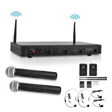 Pyle PDWM4310 4 Channel Wireless Microphone System 2 Headset 2 Lavalier Mics