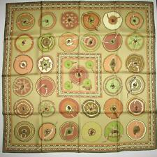 HERMES 2007 Green anise BELLES DU MEXIQUE Twill 90 carre tusch scarf  by Jamin