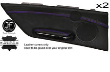 PURPLE STITCH 2X REAR DOOR CARD TRIM LEATHER COVER FOR BMW E46 CONVERTIBLE 98-05