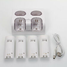 4 Charger Dock Station + 4 Battery Pack White For Nintendo Wii Remote Controller